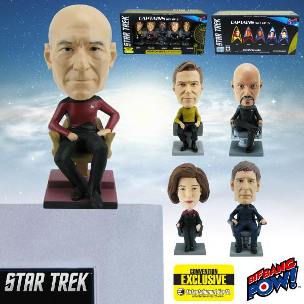 Star Trek Captains Monitor Mate Bobble Heads Set of 5